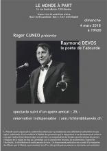 """infos sur mon spectacle """"à toi raymond devos"""" à genève le 4 mars 2018"""